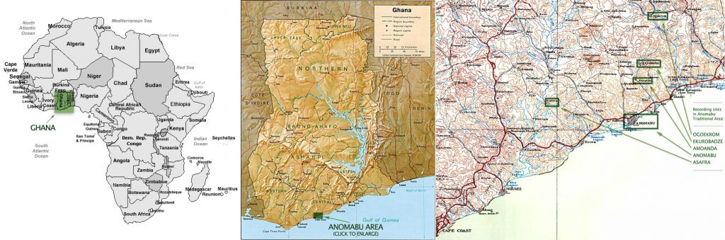 Map of Africa, Ghana, and Anomabu