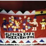 Flag 2 of Shrine for Company No. 6, a red field with human figures and multiple colored shapes